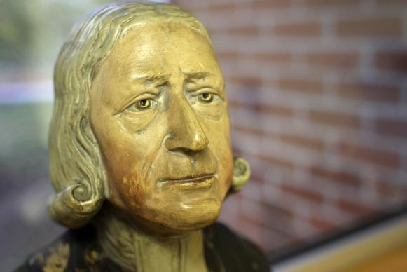 The Enoch Wood  bust  of the Rev. John Wesley (1703-1791)ne of several copies in the Ezra Squier Tipple Collection of Drew University, Madison, New Jersey.  Wesley sat for Enoch Wood (1759-1840), the noted Staffordshire potter, at Burslem in 1784 at the age of 81. Courtesy of the General Commission on Archives and History of the United Methodist Church.  Photo by Kathleen Barry, U