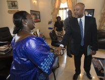 Sia Nyama Koroma, the first lady of Sierra Leone, welcomes the Rev. Gary Henderson to her office in Freetown to discuss the United Methodist Church's Imagine No Malaria campaign. Henderson heads the denomination's Global Health Initiative. Several villages in the Bo district will receive new, insecticide-treated mosquito nets from the United Methodist Church's Imagine No Malaria campaign in the first planned redistribution to replace nets given in 2010. Photo by Mike DuBose, UMNS