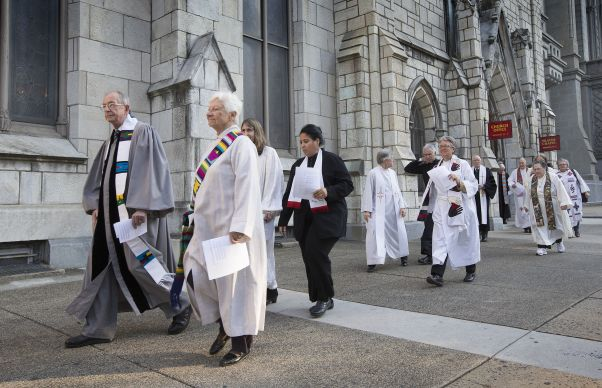 Clergy and faith leaders file into Arch Street United Methodist Church in Philadelphia for the wedding of Richard Taylor and William Gatewood. Photo by Mike DuBose, UMNS