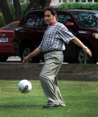 Ricardo Aldana Mogollon, a Methodist pastor from Colombia, enjoys a pickup soccer game outside Prothro Hall at Southern Methodist University's Perkins School of Theology. UMNS photo by Sam Hodges; Photo by Sam Hodges, UMNS