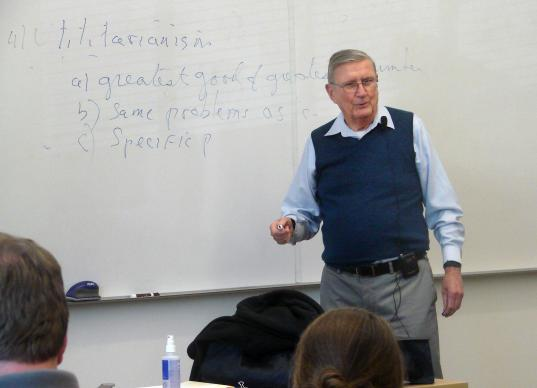 For the Rev. Charles Curran, a Catholic priest and moral theologian whose views upset the Vatican, Southern Methodist University and its Perkins School of Theology became an unlikely but happy home. Here he lectures in a classroom on the Perkins campus in Dallas.