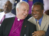 United Methodist Bishop Thomas Bickerton (left) shares a laugh with the Rev. Kimba Kyakutala of the United Methodist Church in Democratic Republic of Congo during the kickoff of a multi-faith observance of World Malaria Day in Lubumbashi, DRC. Photo by Mike DuBose, UMNS. Accompanies UMNS story #216. 4/16/2010
