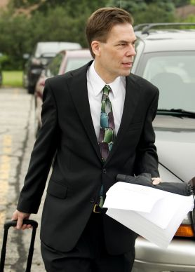 The Rev. Thomas Lambrecht arrives on June 21, 2011, for the start of the Rev. Amy DeLong's church trial at Peace United Methodist Church in Kaukauna, Wis. Lambrecht is now the vice president and general manager of Good News, an unofficial United Methodist renewal group.  Photo by Mike DuBose, UMNS.