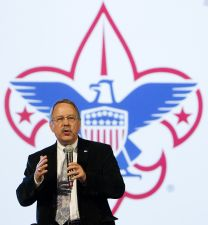 Gil Hanke speaks about scouting ministries during the 2012 General Conference in Tampa, Fla., in this April 2012 file photo. Hanke is top staff executive of United Methodist Men. Hanke, who chairs the General Secretaries Table, said he is excited about renewed cooperation among the denomination's top agency staff leaders. A UMNS file photo by Mike DuBose.