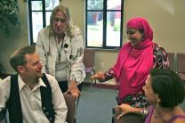 Professors Sheryl Kujawa-Holbrook (left) and Najeeba Syeed-Miller teach a class on interreligious conflict resolution at Claremont Lincoln University in Claremont, Calif. A UMNS photo courtesy of Claremont School of Theology. Accompanies UMNS story #237. 8/8/12.; Claremont School of Theology