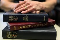 A UMNS photo illustration to accompany a story on aging clergy.  Featured are a Bible, The 2012 Book of Discipline, and The United Methodist Book of Worship. Accompanies UMNS story #135. 4/26/13; A UMNS photo illustration by Kathleen Barry