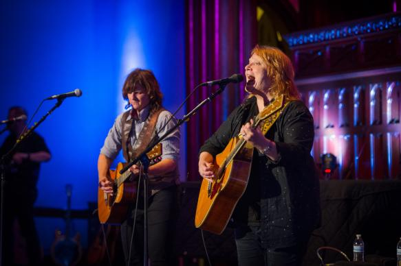 The Grammy Award-winning indie folk rock duo Indigo Girls sing about love, faith and social justice during a Reconciling Ministries Network benefit May 13 during General Conference. Photo by Matt Brodie, UMNS.