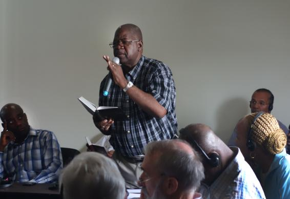 Bishop David Yemba speaks during discussion at the Standing Committee on Central Conference Matters on Feb. 7 at their meeting in Maputo, Mozambique. Photo by Diane Degnan, United Methodist Communications.