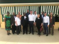 Committee on Faith & Order meets in Cote d'Ivoire. Pictured (left to right): Back Row) Betty Katiyo, Sam Royappa, Michael Nausner, Matthew Laferty, Henk Pieterse, Doug Powe, Edgardo Colon-Emeric; (Front Row) Bishop Rosemarie Wenner, Bishop David Yemba, Bishop Scott Jones, Rena Yocom, Kyle Tau (staff). Members of CFO not pictured above: Sondra Wheeler, Patricia Farris, Russ Richey, Bishop Mike Watson.