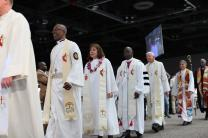 Bishops lead the processional for opening worship at the 2016 United Methodist General Conference in Portland, Ore.