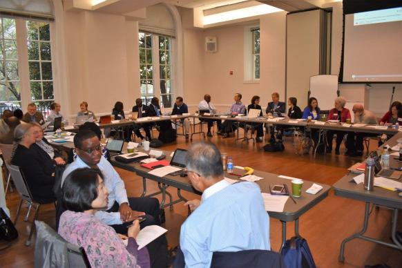 Members of the Commission on a Way Forward hold discussions in small groups during their meeting in Washington, D.C., April 6-8, where they began to consider possible outcomes of the task entrusted to them by General Conference. (Photo by Maidstone Mulenga)