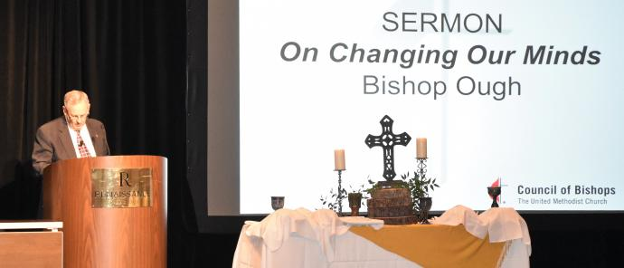 Council of Bishop President Bruce Ough delivers a sermon at a Council of Bishops special meeting.