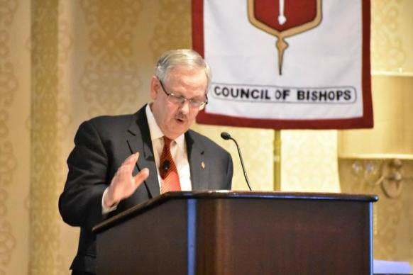Bishop Bruce R. Ough reminded United Methodist bishops that the church is watching how they will lead the denomination into the future.