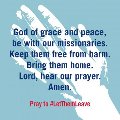 United Methodist leaders launch worldwide #LetThemLeave campaign against treatment of missionaries in the Philippines who have been denied permission to leave the country.