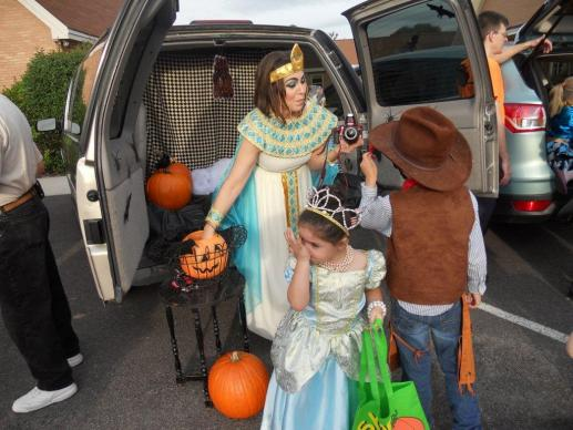 Trinity United Methodist Church in Aiken, South Carolina, celebrates Halloween with a trunk-or-treat event.