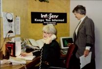 In the mid-1990s, InfoServ consultants Mary Lynn Holly (left) and Woodley McEachern answer questions about The United Methodist Church.
