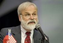 The Rev. Fitzgerald Reist, secretary of the 2008 United Methodist General Conference, reads a Judicial Council ruling stating that efforts to mandate membership in various church bodies are unconstitutional.
