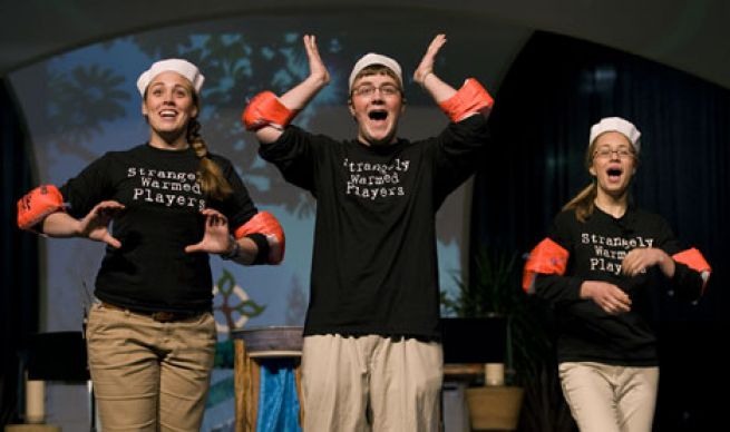 The Strangely Warmed Players perform a satirical skit during morning worship at the 2008 United Methodist General Conference.