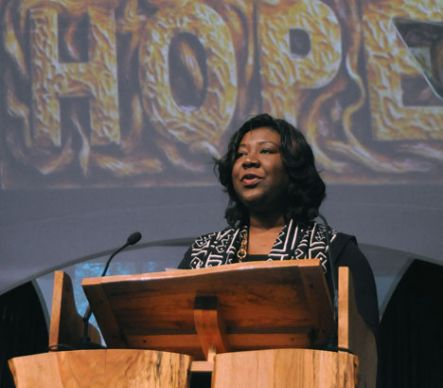 Erin Hawkins, top executive of the United Methodist Commission on Religion and Race, commemorates the 40th anniversary of the dissolution of the Central Jurisdiction during the denomination's 2008 General Conference in Fort Worth, Texas.