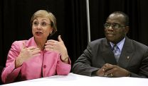 United Methodist Bishops Janice Riggle Huie and Benjamin Boni speak to reporters during a press conference at the 2008 United Methodist General Conference in Fort Worth, Texas.