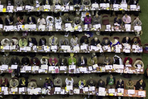 Delegates consider legislation during the 2008 United Methodist General Conference in Fort Worth, Texas.