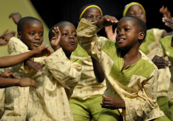 The Hope for Africa Children's Choir from Uganda performs an energetic encore at the 2008 United Methodist General Conference. Many of its members are orphans who have lost their families to civil war violence or AIDS.