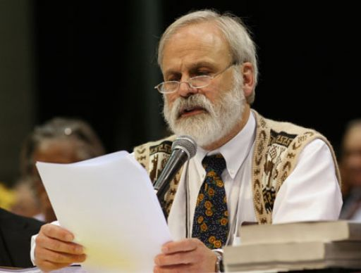 The Rev. Fitzgerald Reist reads a ruling from the United Methodist Judicial Council to the plenary of the denomination's 2008 General Conference. Reist is secretary of the General Conference.