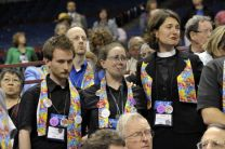 Gay rights supporters react tearfully to an April 30 vote at the 2008 United Methodist General Conference, retaining the church's position that the practice of homosexuality is