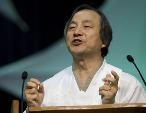 Bishop Hee-Soo Jung delivers the sermon during morning worship at the 2008 United Methodist General Conference in Fort Worth, Texas.
