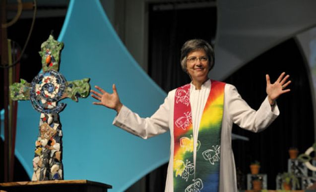 Bishop Hope Morgan Ward preaches during the morning worship service on May 2, the final day of the 10-day United Methodist General Conference.