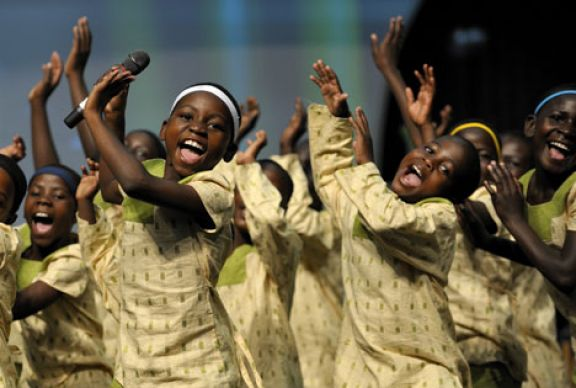 The Hope for Africa Children's Choir performs at the 2008 General Conference in Fort Worth, Texas. A UMNS file photo by Paul Jeffrey.