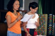 Darlene Marquez-Caramanzana and Norma P. Dollaga participate in an August 2007 workshop in Manila, Philippines, on the Social Creed.