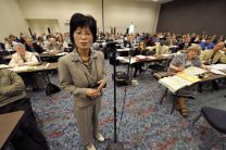 The Rev. Youngsook C. Kang speaks to the legislative committee on ministry and higher education at the 2008 United Methodist General Conference in Fort Worth, Texas.