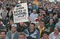 Thousands of immigrants and supporters rally on the grounds of the U.S. Capitol in March 2006. United Methodist leaders have sent a letter to the U.S. Senate opposing the current immigration bill and calling for genuine reform. A UMNS file photo by Rick Reinhard.