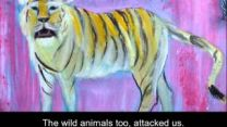 Painting of a tiger by Lost Boy artist James Makuac.