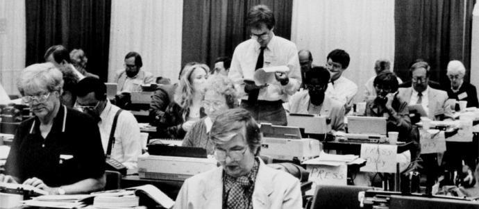 The newsroom at the 1988 General Conference in St. Louis.