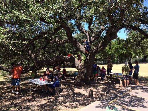 Servant Church in Austin, Texas, hosts a back-to-school community potluck at Maplewood Elementary.