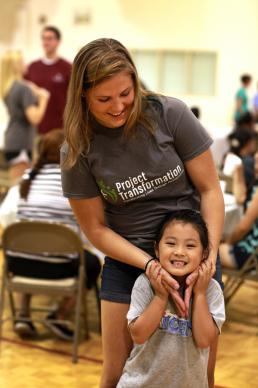 Project Transformation is an eight-week summer camp held in churches that creates bonds between the young adult interns and the children they serve. First year intern Sarah Fuquay shares a moment with a friend during a weekly Family Fun Night in Nashville, Tenn.