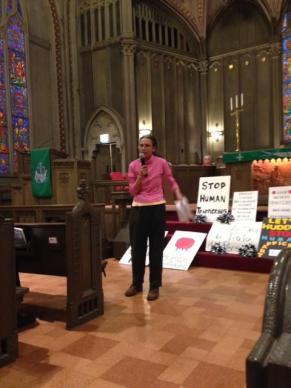Vasja Parma, spiritual growth coordinator for United Methodist Women in the Northern Illinois Conference, leads worship following a march against human trafficking in Chicago in 2015.