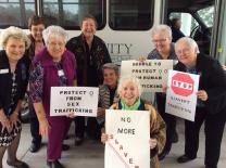 United Methodist Women from Trinity United Methodist Church in Gainesvillle, Florida, demonstrated the huddle to intercept human trafficking during a November 2014 district meeting.