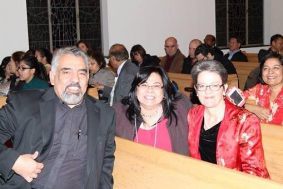 Ruby Bago (left) and Northern Illinois Bishop Sally Dyck at the General Board of Global Ministries Asian Language Ministry Advisory Committee in Chicago in November 2014.