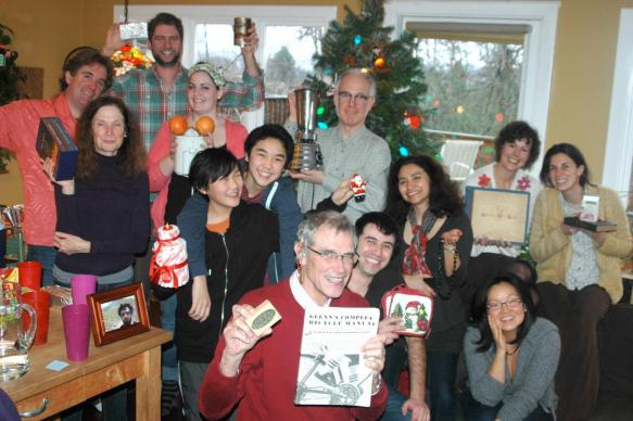 Congregants from Valley & Mountain, a United Methodist faith community in Seattle, gather for their annual Waffles and White Elephant party during Advent.