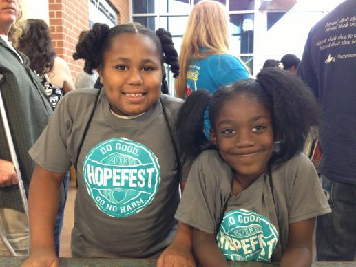 Young participants wear matching T-shirts and smiles during HopeFest at First United Methodist Church, Sikeston, Mo.