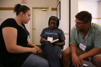 Young people engage in Bible study during the United Methodist Seminar Program on National/International Affairs sponsored by the General Board of Church and Society.