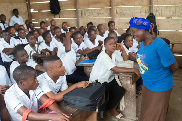 Marceline Bakaba Kongaiseko leads her class at the United Methodist Mangobo Secondary School in Kisangani, Democratic Republic of Congo.