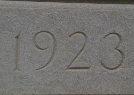 The cornestone captures the year the only non-governmental building on Capitol Hill in Washington, D.C., opened.