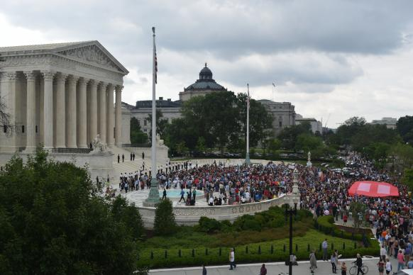 Windows of the United Methodist Building overlook the United States Supreme Court -- and the plaza where demonstrators on all sides of social justice and other issues frequently gather.