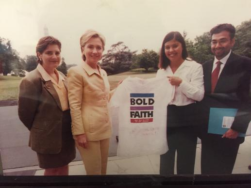 Meeting then-First Lady Hillary Rodham Clinton was among the highlights of her internships for Damaris Nicholson (second from right). Joining them on the White House lawn in 1999 are the Rev. Neal Christie and an unindentified GBCS staff member.