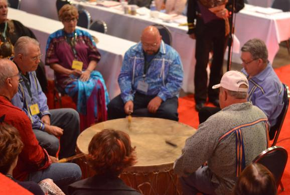 The Drum, consisting of members of Dayspring United Methodist Church in East Peoria, Illinois, play during the Act of Repentance toward Indigenous Peoples, which was part of the 2015 Illinois Great Rivers Annual Conference session. Dayspring is Illinois' only Native American United Methodist congregation. Learning about the acts of repentance in which United Methodists have engaged since 2012 is one way to observe Native American Ministries Sunday.