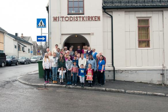 The congregation gathers outside the United Methodist church in Hammerfest, Norway